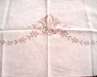 Small table scarf, Cream, tan stitching, 16 x 9, Vintage table doily