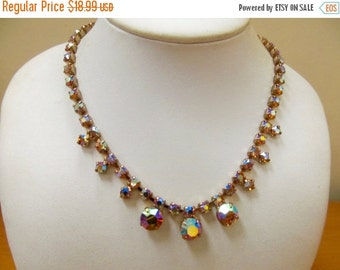 On Sale Vintage Prong Set Golden Iridescent Rhinestone Necklace Item K # 145