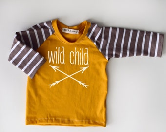 Long sleeve Handmade Mustard Cocoa stripe Ranglan infant and toddler Shirt with Wild Child or My Tribe on front