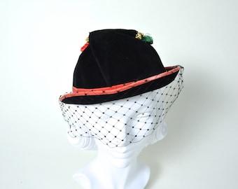 Vintage 1940s Hat 40s Velvet Fedora with Tassels