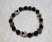 Onyx and Bali Silver Hamsa Beadframe Stretch Bracelet
