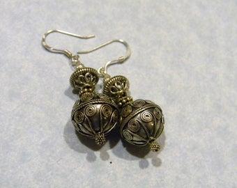 All Silver Bali Bead Drop Earrings