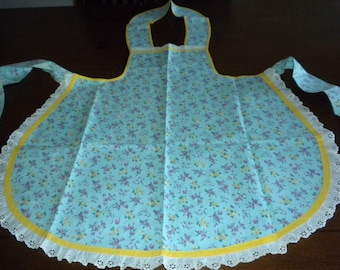 vintage bib apron pristine aqua lavender floral yellow trim eyelet ruffle 50s calico lovely