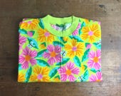 Reserved for Woody Vintage T-Shirt 1990s, tropical flowers, United Colours of Benetton, Rave, ibiza, Festival, Acid House, flower power