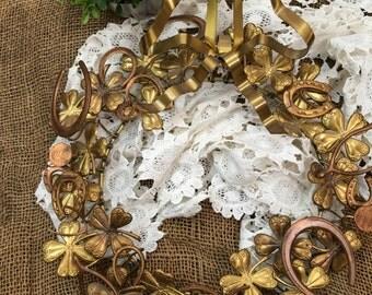Four Leaf Clover Brass Wreath Dresden Wreath Petit Choses Wreath St. Patrick's Day Luck Of The Irish