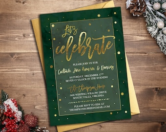 Holiday Celebration Party Invitation || Printable Invitation || Christmas Card