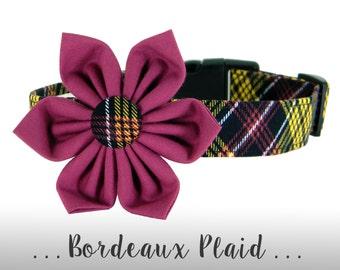 Purple and Black Plaid Flower Dog Collar; Wine Plaid Dog Collar: Bordeaux Plaid