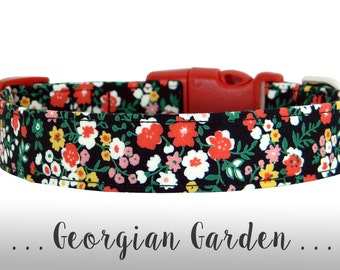 Red, Black, Yellow and Pink Flower Dog Collar; Floral Dog Collar: Georgian Garden