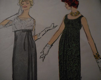 Vintage 1950's Advance Empire Chemise Dress Sewing Pattern, Size 16, Bust 36