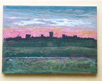 Small Abstract Painting, Cityscape, Acrylics on Wood, Original Artwork