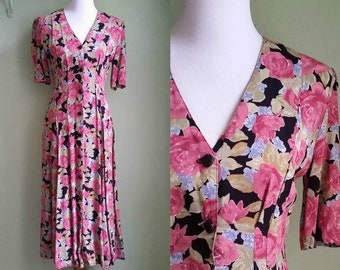 1990s Button Front Rayon Dress - Floral Printed Tea Length Dress - XS/Small