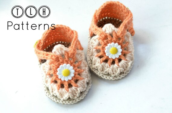 Crochet sandals pattern, crochet baby sandals, baby slippers, Flora baby sandals - 2 sizes - 3 to 6 and 6-12 months, Pattern No. 88