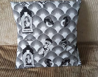 """art deco black and white hollywood movie, decorative pillow,   cushion cover 16"""" x 16"""""""