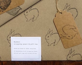 Rabbit Wrapping Paper and Rabbit Gift Tag - Hand printed - 100% Recycled Kraft Wrapping Paper - Rabbit Gift - Bunny Paper - Bunny Gift
