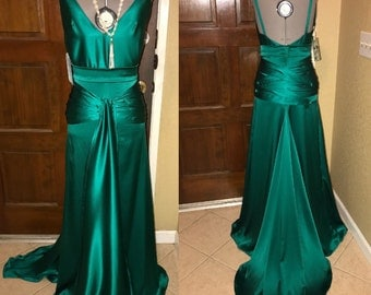 Sample sale 1930s Insp RTS deep Rich teal green 'Keira' Plunge Back Godet Bridal Wedding Evening Silk Charmeuse Gown Dress 2/4/6