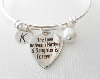 The Love Between Mother and Daughter is Forever, Pearl- Initial Bangle/ Personalized name, Stepmom Gift, mom jewelry, moms initial