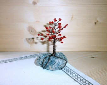 Beaded tree miniature, Wire art tree sculpture, Small red bonsai tree, Home decor, seed beads, coated wire and natural rock