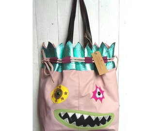 SALE! Leather Monster bag, leather shopper, shoulder bag, handmade handbag, monster face bag, leather handbag, unusual handbag.