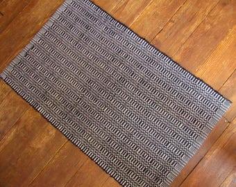 Woven Rag Rug Black and White Cotton Washable Handmade Hardworking Floor Friendly