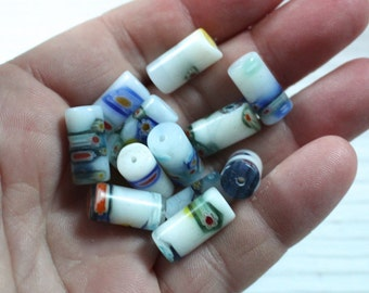 White millefiori tube beads