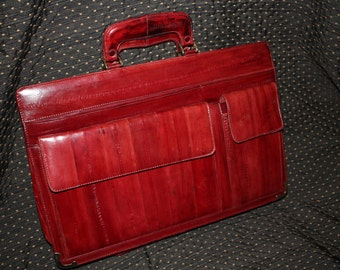 Vintage EEL Skin Leather Burgandy Briefcase