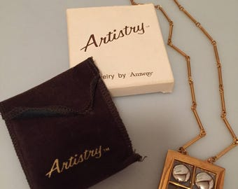 1970s Vintage JEWELRY by AMWAY Pendant Necklace Gold Plated Rhodium Plated GEOMETRIC Pendant Original pouch Original Box Never Worn