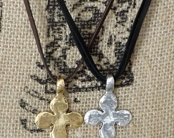 Gold Silver Cross Black Brown Suede Necklace, Custom Sundance Style Leather Layering Adjustable Necklace, Southwestern Boho Jewelry, Gift
