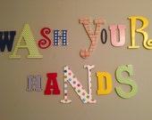 Wall Letters, Kids Bathroom Art, Bathroom Decal Art, Wooden Letters, Bathroom Art, Bathroom Sign