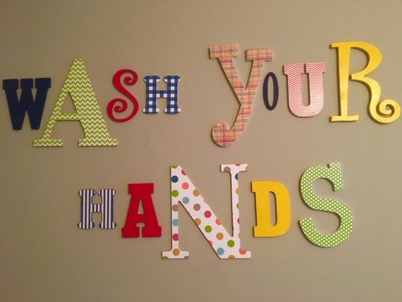 Wall letters kids bathroom art bathroom decal art wooden for Bathroom wall letters