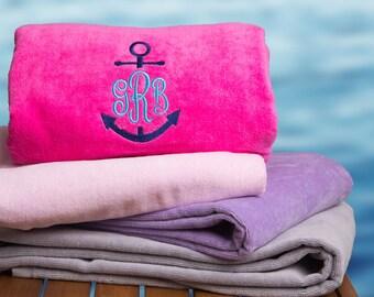 Anchor Monogram Beach Towel / Pool Towel / Cabana Stripe Towel / Large Beach Towel / Bridesmaid Gift / Custom Beach Towel / Camp Towel