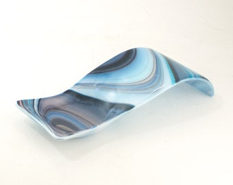 Unique Spoon Rest, Kitchen Counter Decoration, Unique Gifts for Chefs, Modern Kitchen Accents, Useful Gifts for Mom, Blue Glass Decor