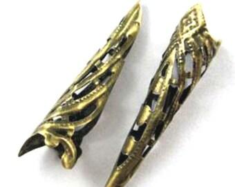 10pcs 35mm antique bronze finish filigree cone caps-2653n