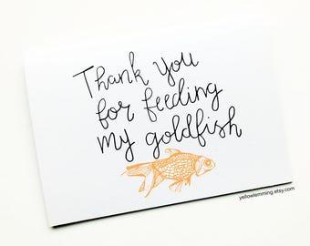 Goldfish Card, Animal Thank You Card, Pet Card, Thank You For Looking After My Pet, Fish Thank You Card, Goldfish Card, Pet Sitting
