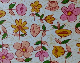 """36"""" Pink & Orange Floral on White 3 yd. and 32 inches long"""