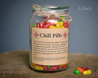 Chill Pill Self Adhesive Labels for DIY Chill Pill Gag Gift Container ANYONE Theme