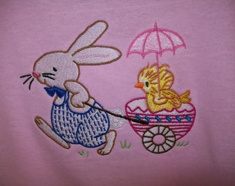 Easter Bunny and Chick Embroidered T Shirt - Size S  4 - 5