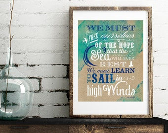Aristotle Quote - Sail in High Winds -  Vertical Print - Frame Not Included