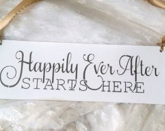 Happily ever after starts here, wedding sign, fairytale wedding, princess, gold and white,  vintage wedding royal once upon a time