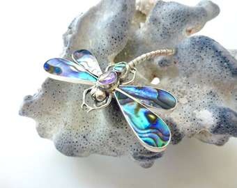 Abalone Dragonfly Brooch Pendant Sterling Silver Abalone Dragonfly Brooch Pendant