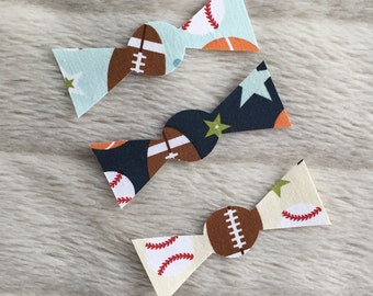 Set of 3 Baby Bow Ties, Iron on Sports Bow Ties, Sports Bow Ties, Sporty Baby Ties