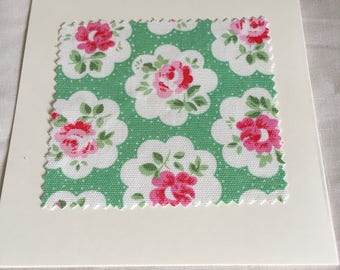 Cath Kidston fabric Provence Rose in Green blank card - cream card - cream envelope