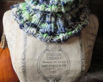 Cowl, Hand Knit, from Handspun Art Yarn, Neckwarmer, Scarf, Superwash Merino Wool, Ribbed, Refreshing