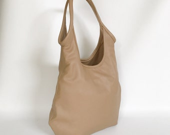 Camel Leather Slouchy Bag Purse with Outside Zip Pocket - Fashion Shoulder Handbag - Handmade totes and purses machel