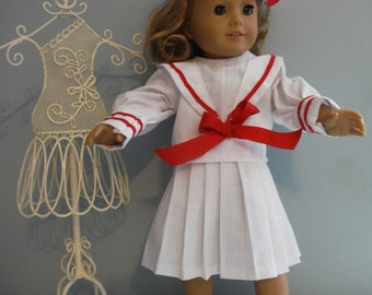 18 inch doll white salior outfit - 3 piece , skirt, top and hat by  Project Funway on Etsy