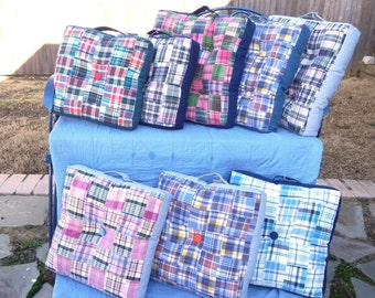 Patchwork Madras Box Pillow 3 sizes Choose your Fabric