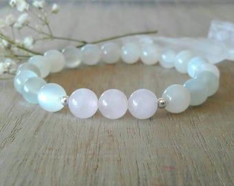 Moonstone and Rose Quartz Fertility Bracelet, Love, Fertility, Mothers Day Gift, Yoga Jewelry, Zen, Wrist Mala, Minimalist, Feminine, Yoga