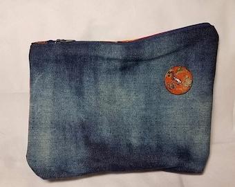 Upcycled Asymmetrical Denim Batik Handbag Clutch Ombré Bleached Style Bag Recycled Jeans