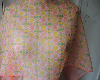 Vintage 1960s sheer nylon scarf day glo orange and yellow 14 x 42 inches