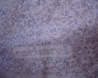 Vintage cotton scarf designer Lou Lou Cacharel  for Robinson & Golluber cornflower blue flowers slightly sheer 26 x 26 inches