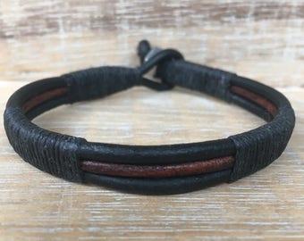 Mens Black and Brown Leather Bracelet, Mens Leather Cuff Bracelet, Unisex Bracelet, Mens Leather Wrap Bracelet, Biker Dude, Genuine Leather